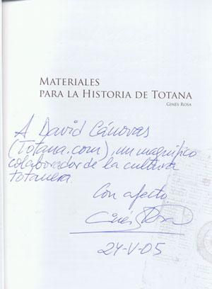Materiales para la historia de Totana Dedicatoria